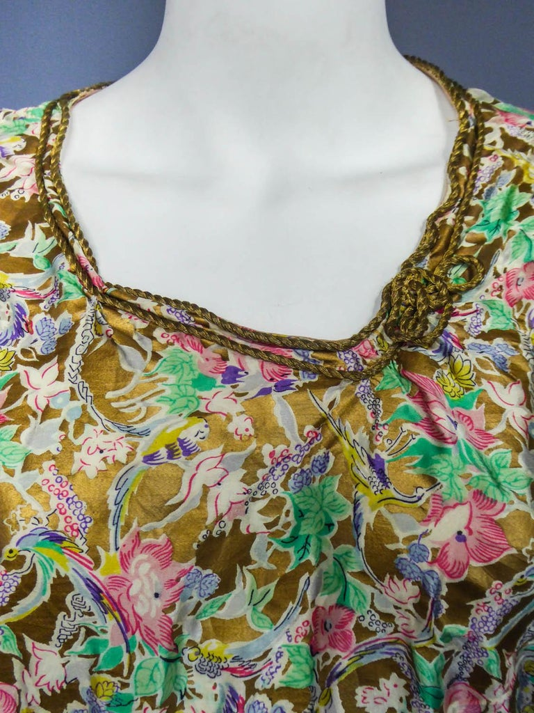 Surrealist Gold Printed Satin Dress Circa 1940 For Sale 8