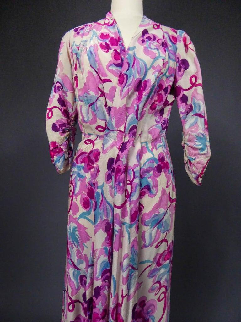 Gray Long Dress Circa 1940 For Sale
