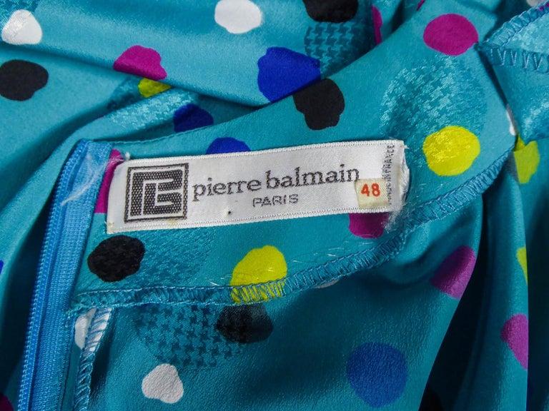 Blue Pierre Balmain Dress, Circa 1980 For Sale