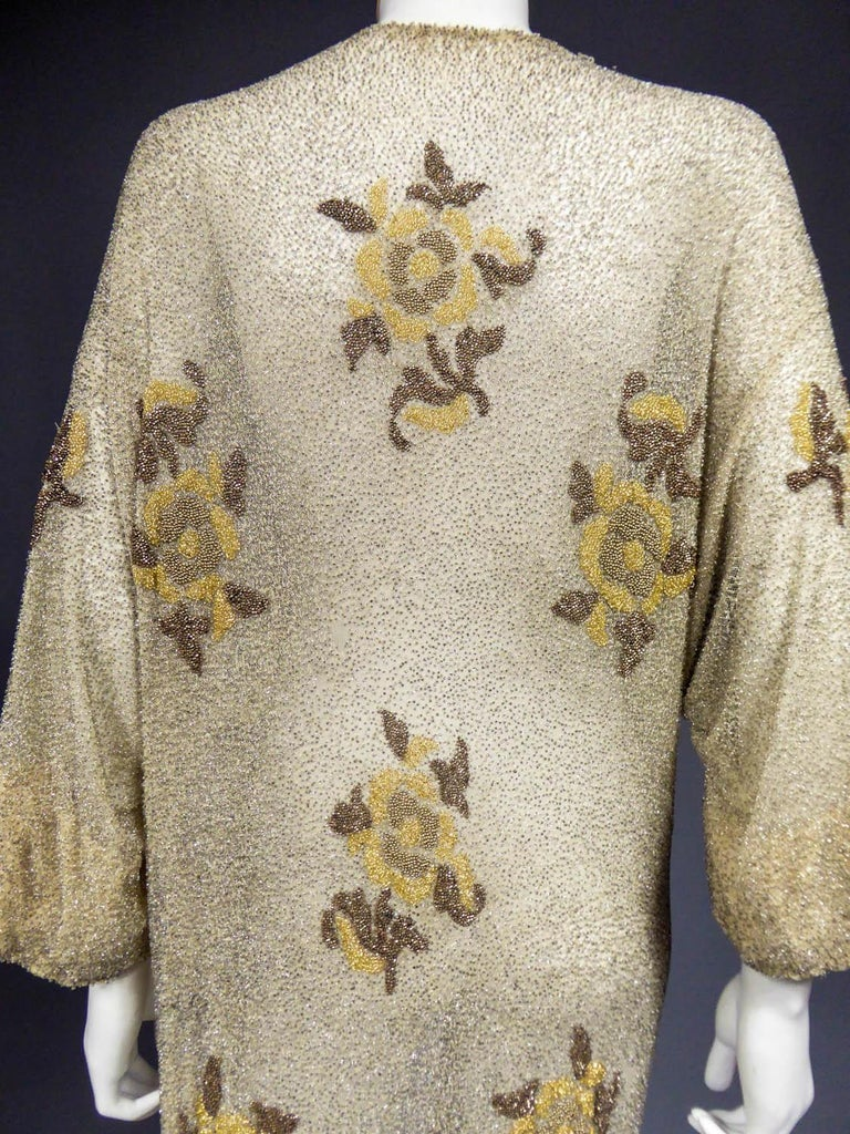 Beige French Couture beaded coat in the style of Paul Poiret, Circa 1930 For Sale