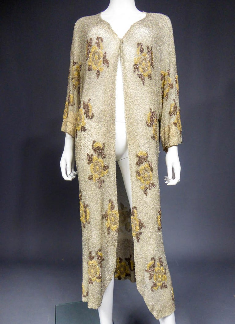 French Couture beaded coat in the style of Paul Poiret, Circa 1930 For Sale 3
