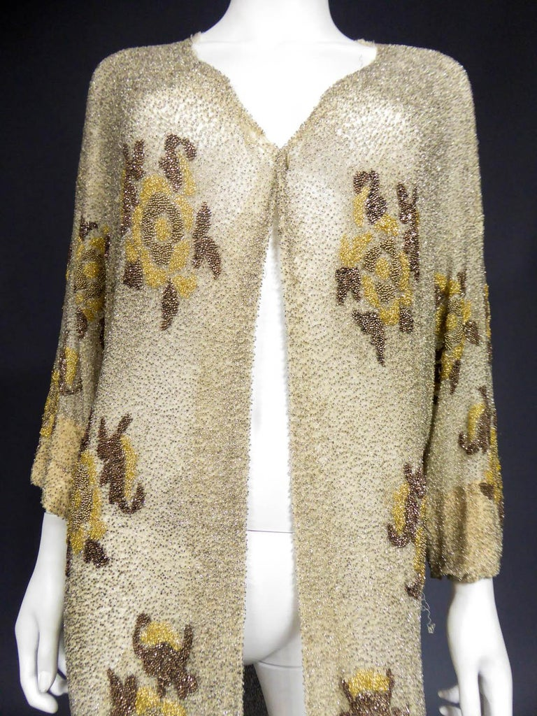 French Couture beaded coat in the style of Paul Poiret, Circa 1930 For Sale 4