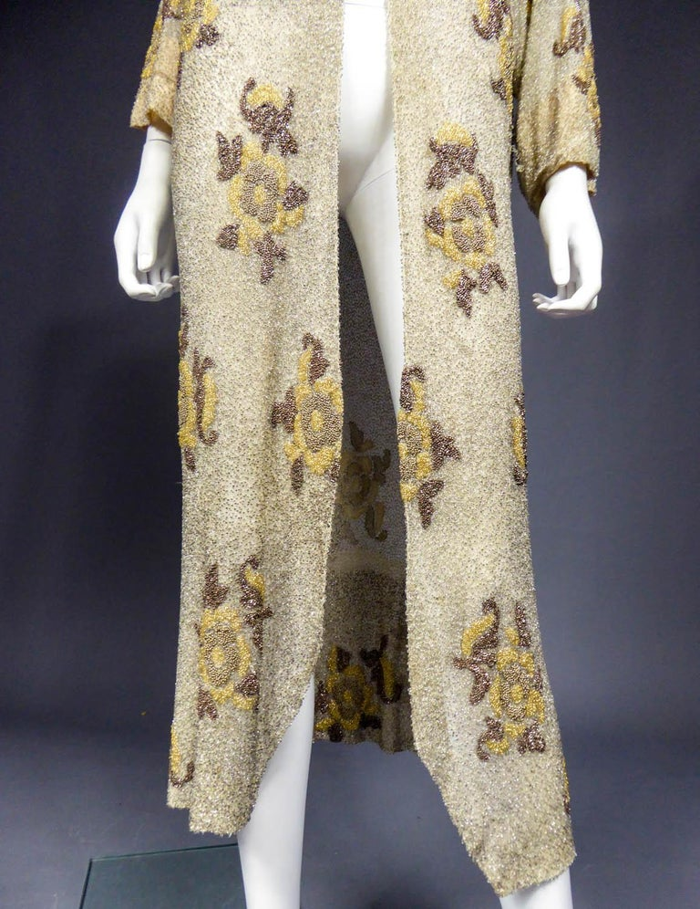 French Couture beaded coat in the style of Paul Poiret, Circa 1930 For Sale 6