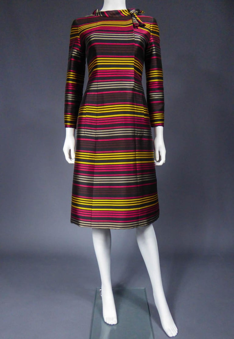 Jeanne Lanvin Couture cocktail dress, Circa 1965 In Excellent Condition For Sale In Toulon, FR