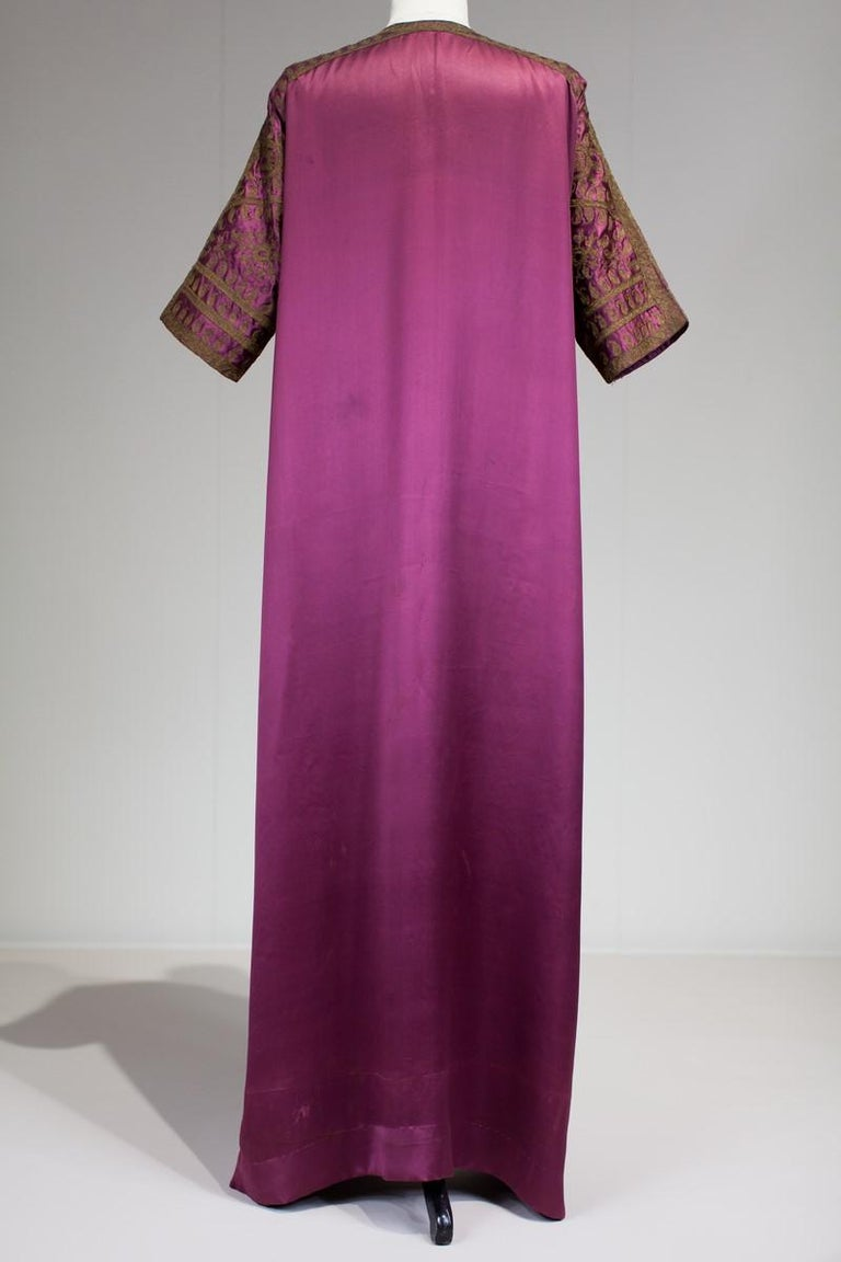 Brown A Babani French Couture Orientalist Kaftan/Satin Evening Dress Circa 1930  For Sale