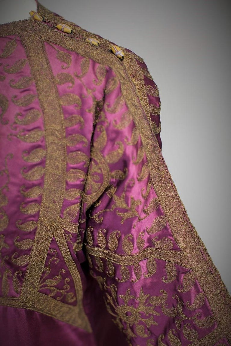 Women's A Babani French Couture Orientalist Kaftan/Satin Evening Dress Circa 1930  For Sale