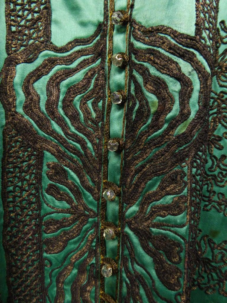 Babani Couture Kaftan or Party Kimono in green satin with appliqué, circa 1915 For Sale 1