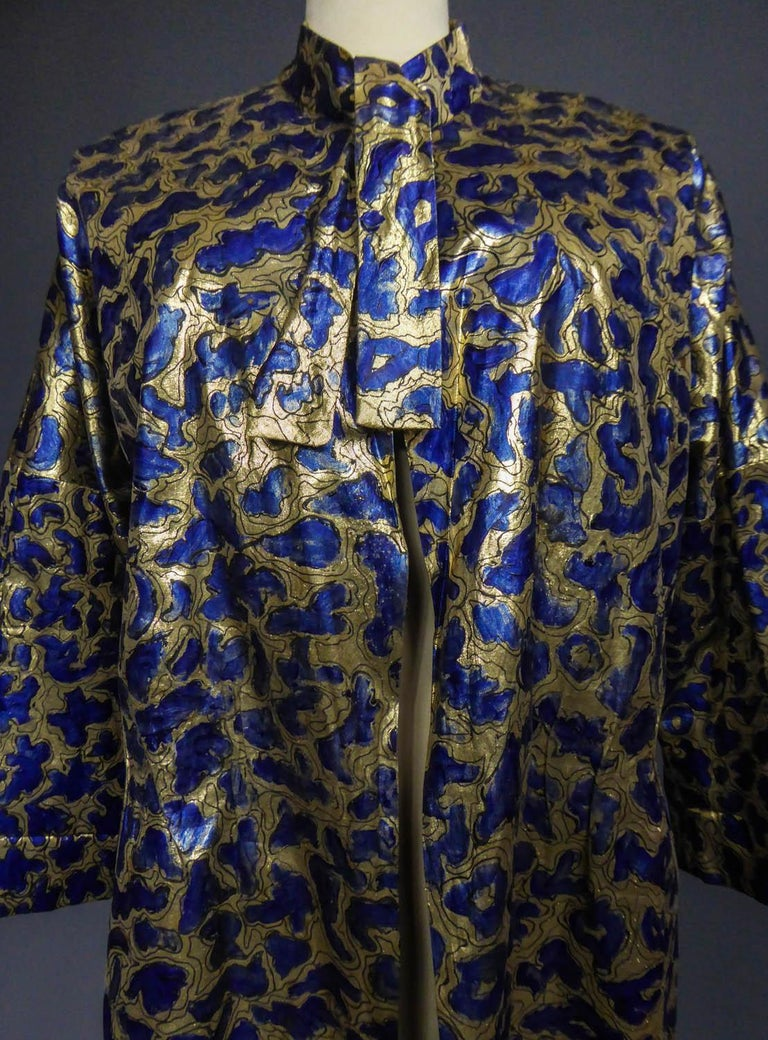 Black Blue painted and gold lamé Kimono in the manner of Matisse Circa 1960 For Sale