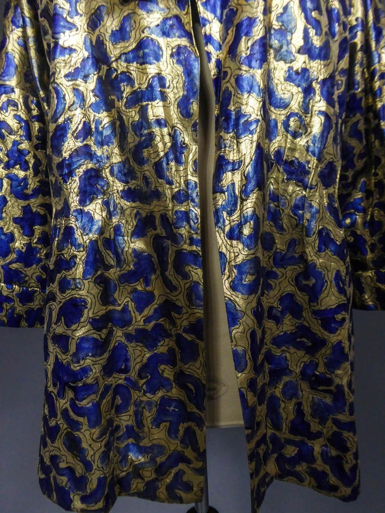 Blue painted and gold lamé Kimono in the manner of Matisse Circa 1960 In Excellent Condition For Sale In Toulon, FR