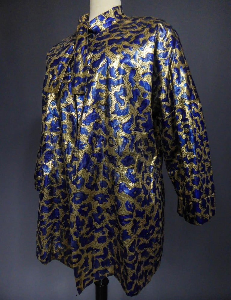 Women's Blue painted and gold lamé Kimono in the manner of Matisse Circa 1960 For Sale