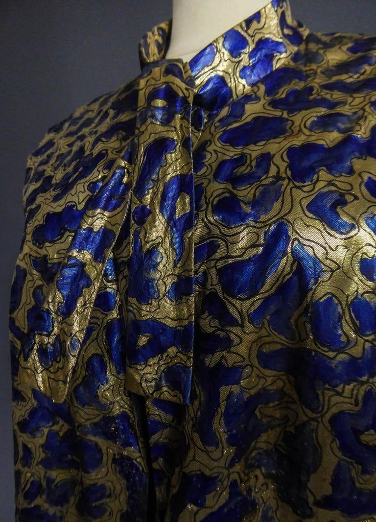 Blue painted and gold lamé Kimono in the manner of Matisse Circa 1960 For Sale 1