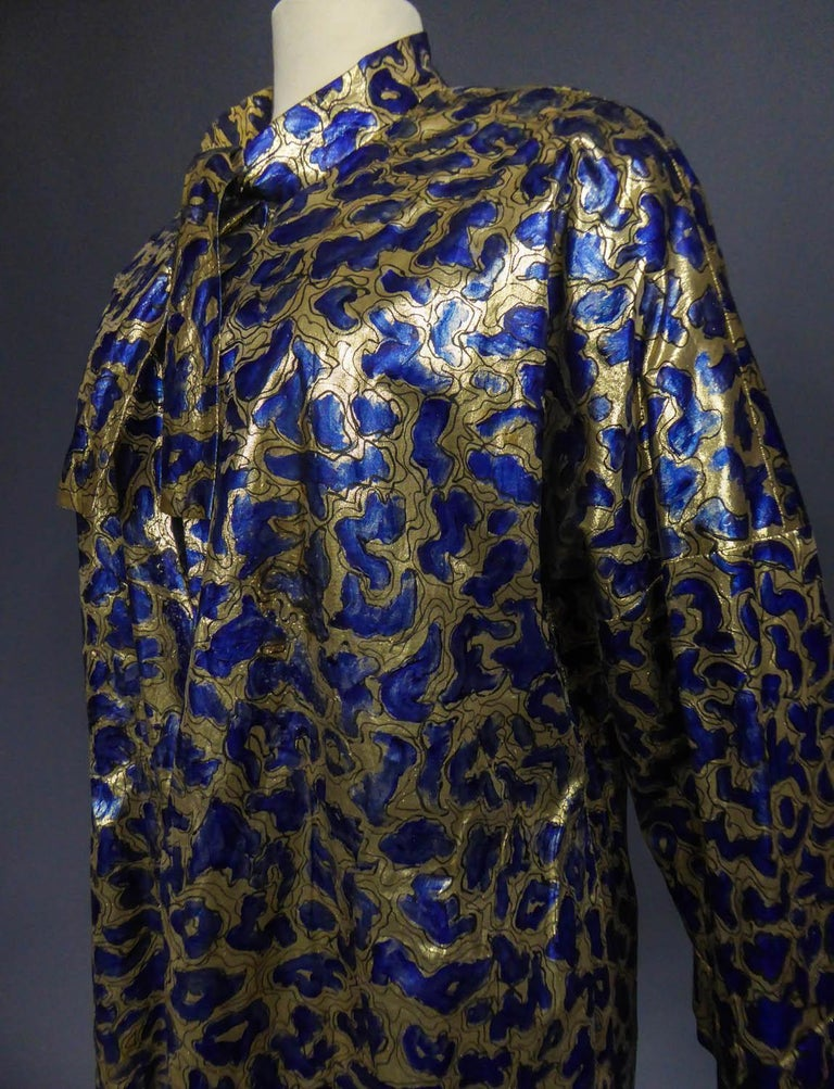 Blue painted and gold lamé Kimono in the manner of Matisse Circa 1960 For Sale 2