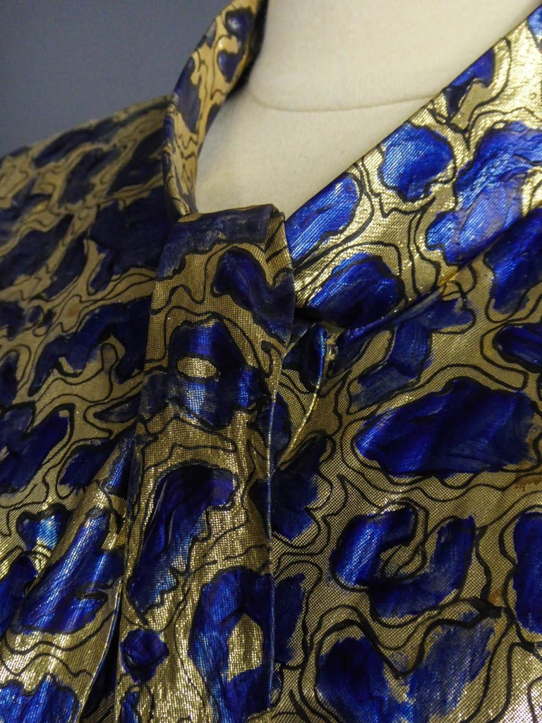 Blue painted and gold lamé Kimono in the manner of Matisse Circa 1960 For Sale 3