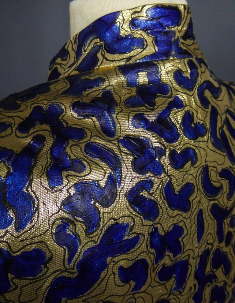 Blue painted and gold lamé Kimono in the manner of Matisse Circa 1960 For Sale 5