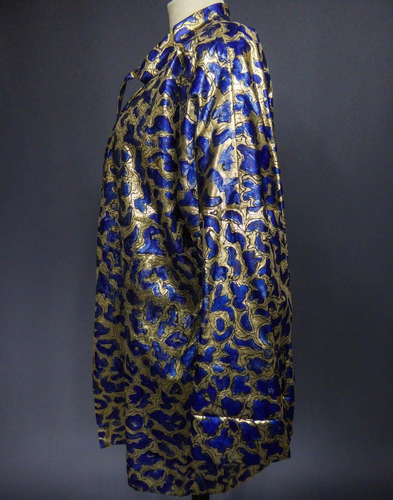 Blue painted and gold lamé Kimono in the manner of Matisse Circa 1960 For Sale 7