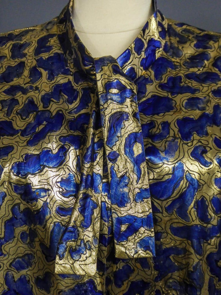 Blue painted and gold lamé Kimono in the manner of Matisse Circa 1960 For Sale 8