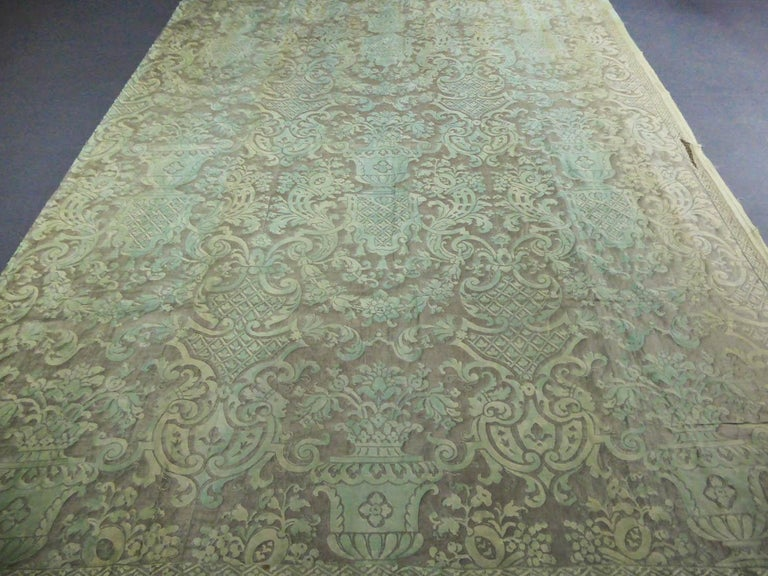 Silver Mariano Fortuny Pair of silver printed curtains Venice, circa 1920 For Sale