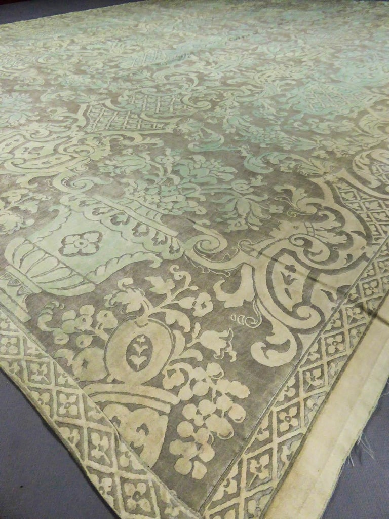 Mariano Fortuny Pair of silver printed curtains Venice, circa 1920 In Excellent Condition For Sale In Toulon, FR