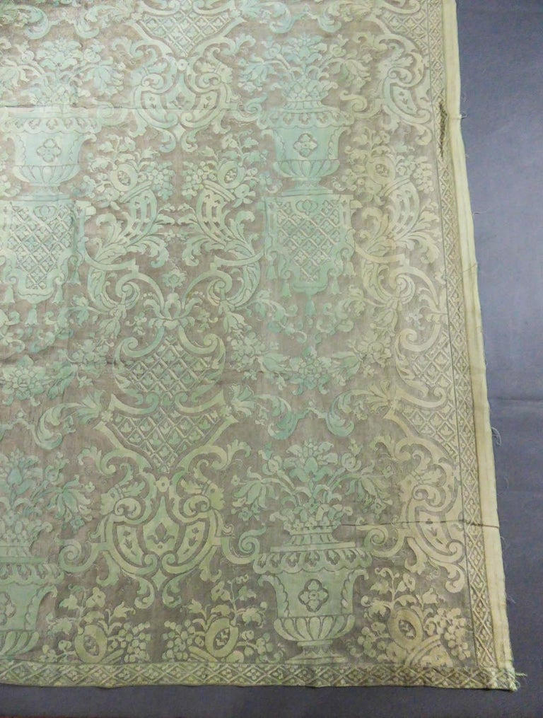 Women's or Men's Mariano Fortuny Pair of silver printed curtains Venice, circa 1920 For Sale