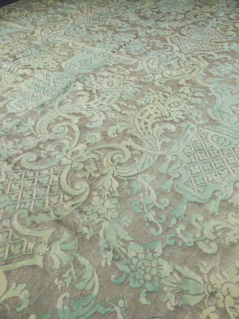 Mariano Fortuny Pair of silver printed curtains Venice, circa 1920 For Sale 1