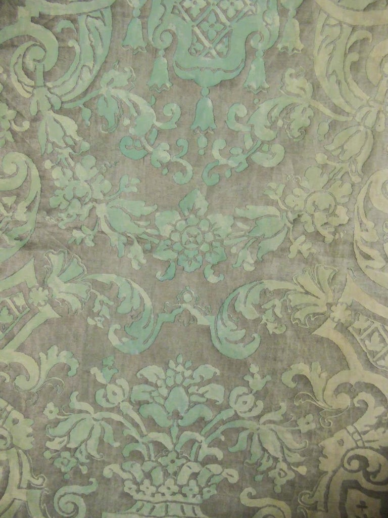 Mariano Fortuny Pair of silver printed curtains Venice, circa 1920 For Sale 3