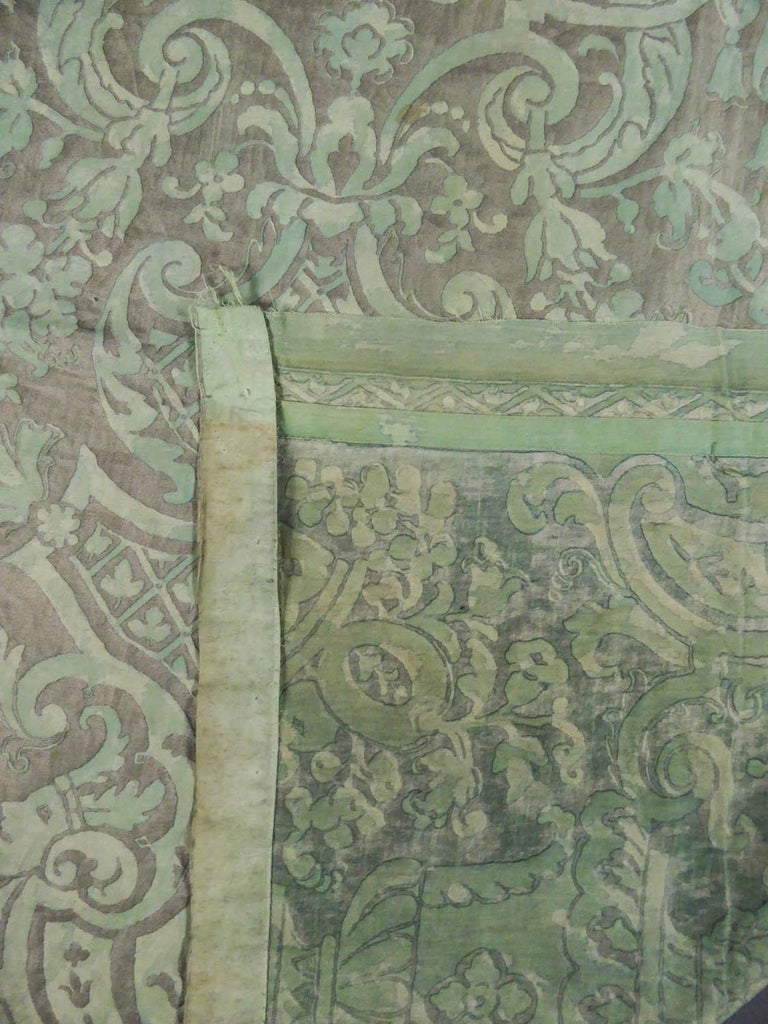 Mariano Fortuny Pair of silver printed curtains Venice, circa 1920 For Sale 6