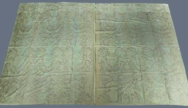 Mariano Fortuny Pair of silver printed curtains Venice, circa 1920 For Sale 7