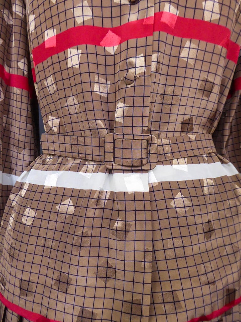 Brown French Blouse and Pleated Skirt Cacharel (Attributed to) Circa 1980 For Sale
