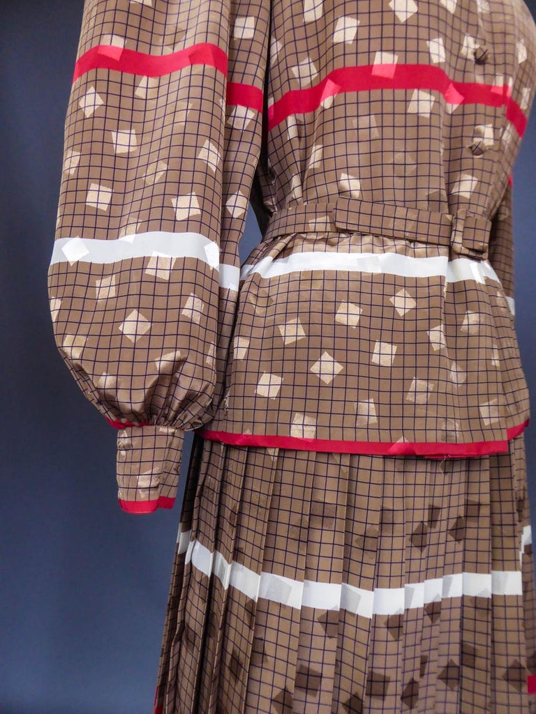 French Blouse and Pleated Skirt Cacharel (Attributed to) Circa 1980 For Sale 2