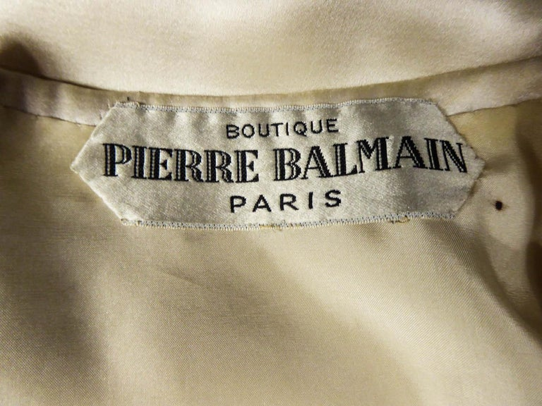 Beige Pierre Balmain evening dress Bolero and purse Circa 1950 For Sale