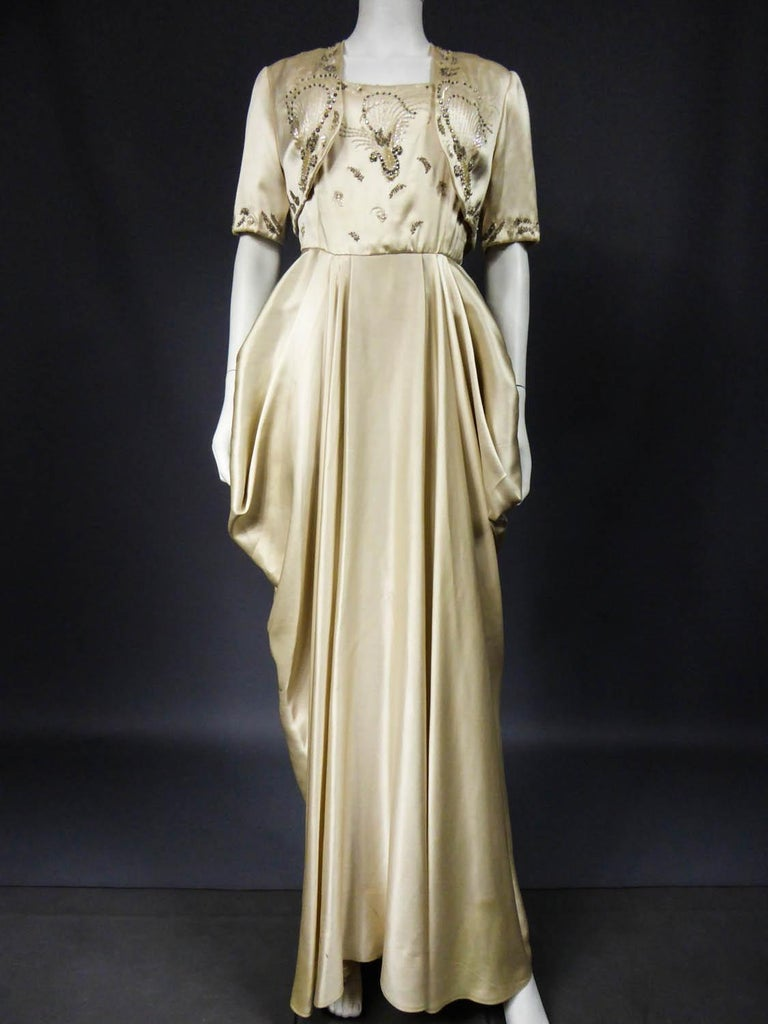 Pierre Balmain evening dress Bolero and purse Circa 1950 In Excellent Condition For Sale In Toulon, FR