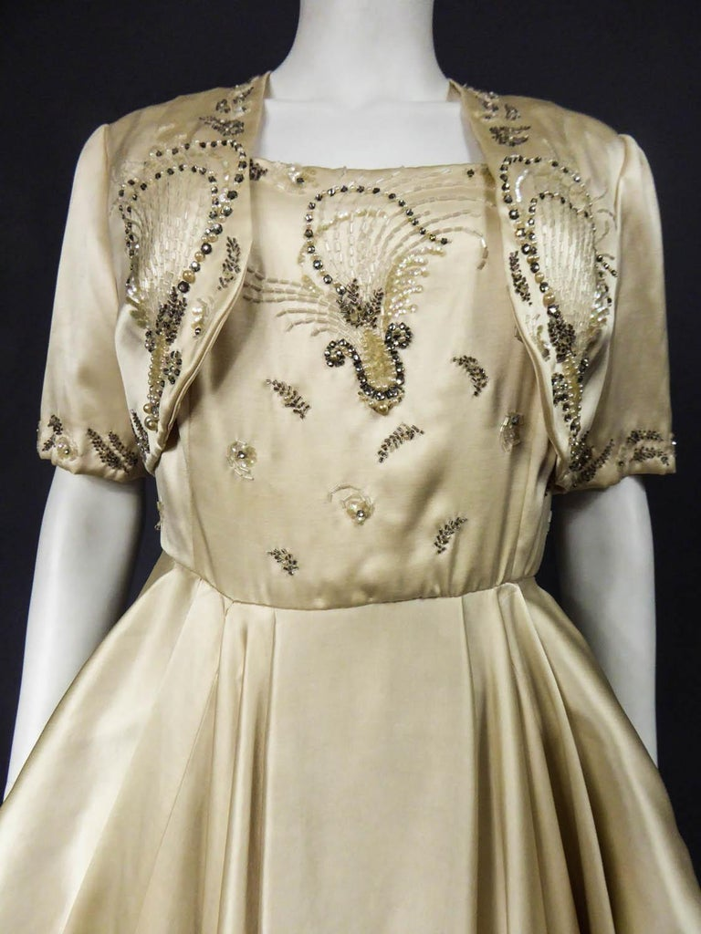 Pierre Balmain evening dress Bolero and purse Circa 1950 For Sale 1