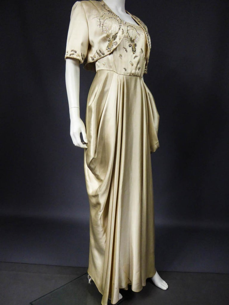 Pierre Balmain evening dress Bolero and purse Circa 1950 For Sale 3
