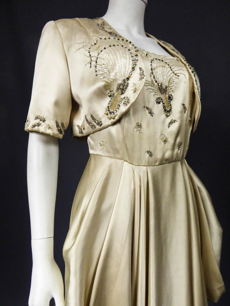 Pierre Balmain evening dress Bolero and purse Circa 1950 For Sale 4
