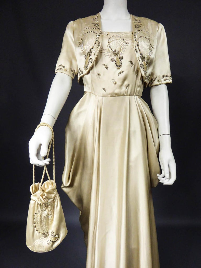 Pierre Balmain evening dress Bolero and purse Circa 1950 For Sale 8