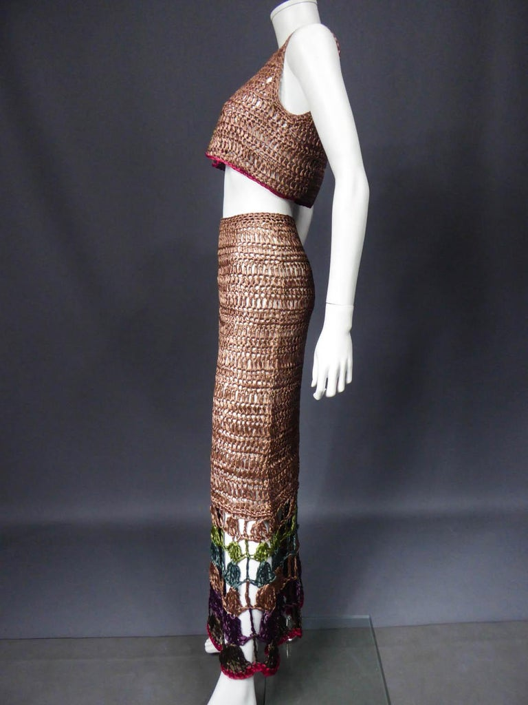 Bolero and Skirt Set in Raffia Knitting Circa 1970 In Excellent Condition For Sale In Toulon, FR