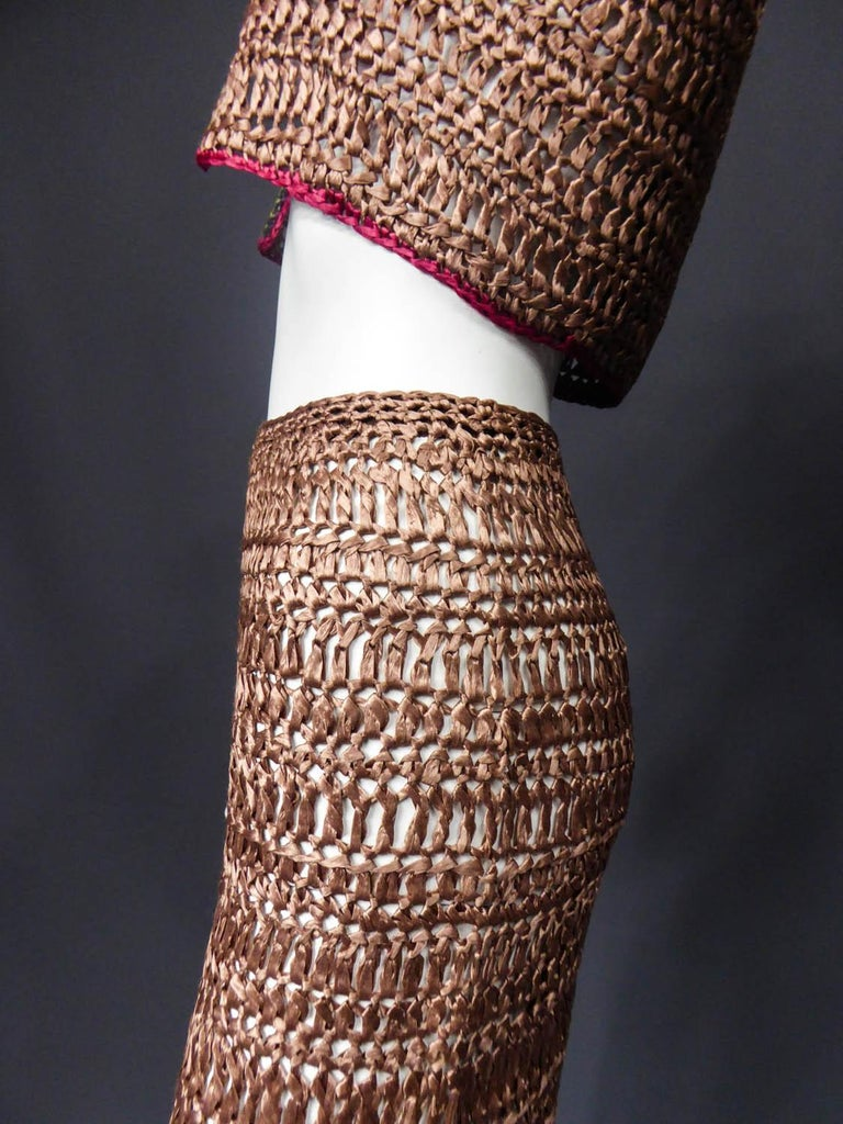 Women's Bolero and Skirt Set in Raffia Knitting Circa 1970 For Sale