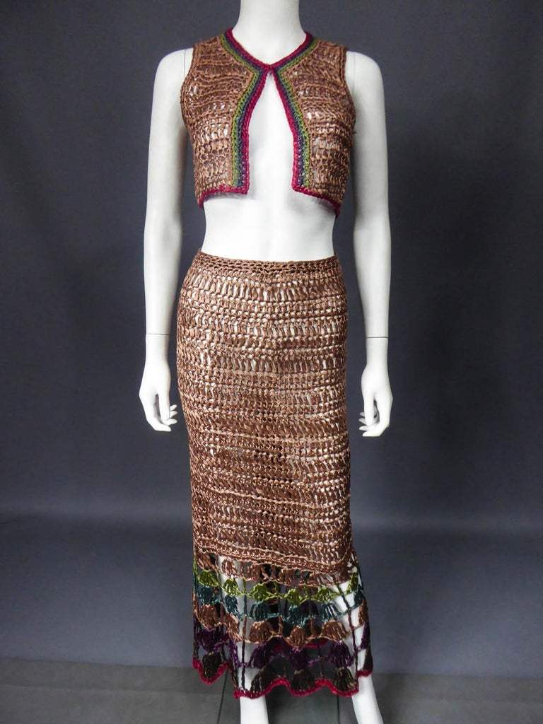 Bolero and Skirt Set in Raffia Knitting Circa 1970 For Sale 1