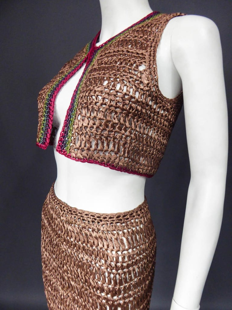 Bolero and Skirt Set in Raffia Knitting Circa 1970 For Sale 3
