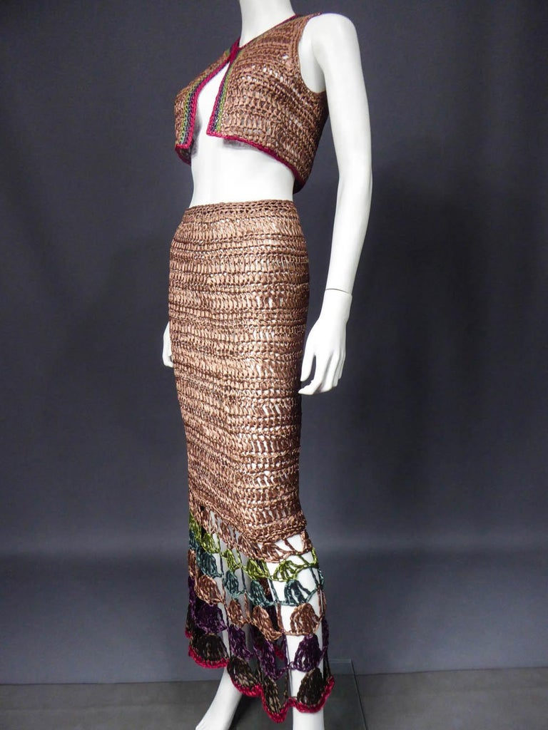 Bolero and Skirt Set in Raffia Knitting Circa 1970 For Sale 5