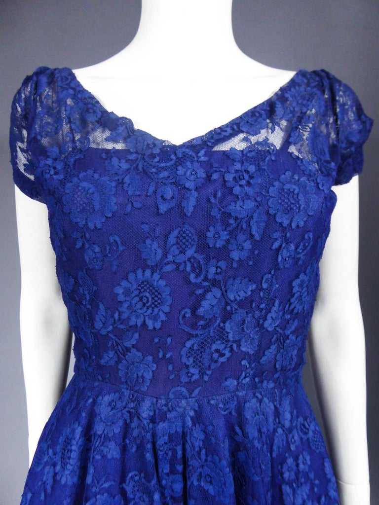 Purple A Louis Féraud Haute Couture  French Lace Ballgown - Circa 1950/1955 For Sale
