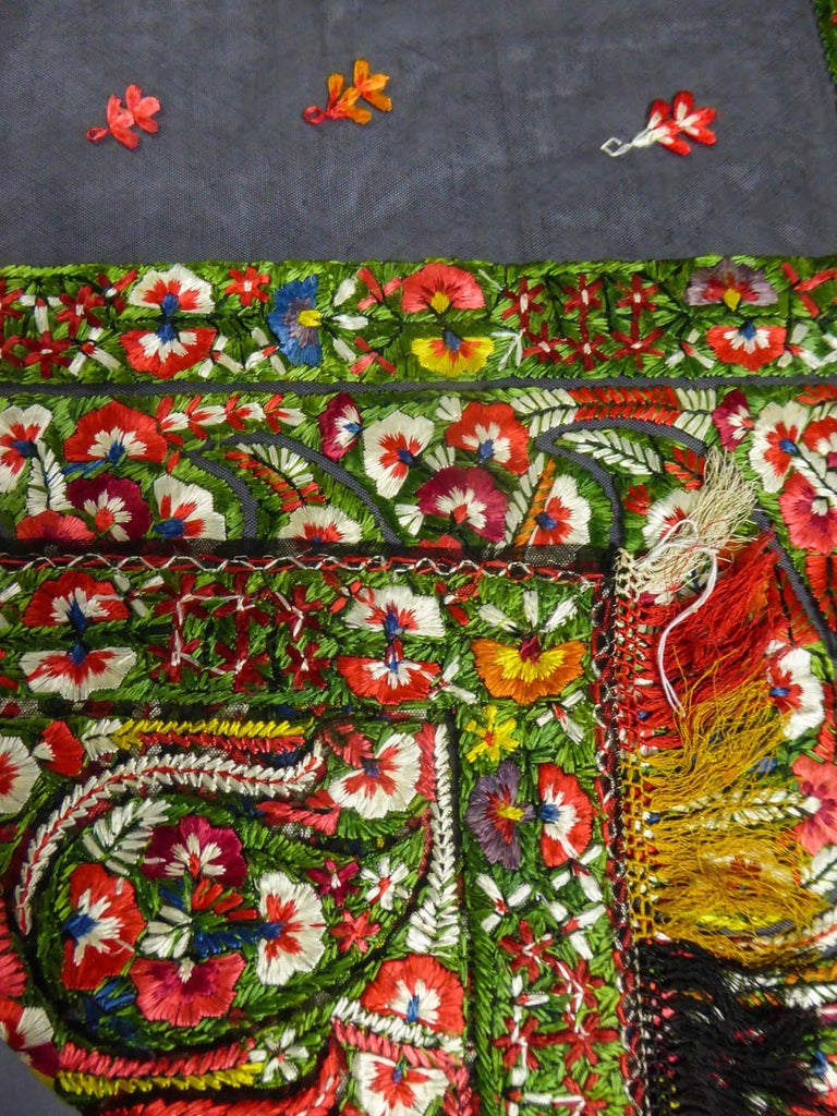 Dehli stole in tulle embroidered with floss-silk  - India for export Circa 1830 For Sale 7