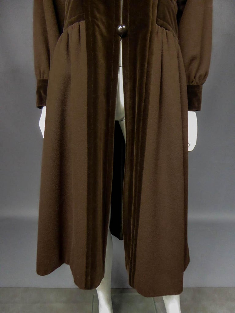 Circa 1976 – 1978 France  Saint Laurent Rive Gauche coat from the 1976 Ballets Russes collection by the famous couturier in his most creative period. Beautiful brown brushed mohair wool and chocolate velvet more sustained. Coat with placket, collar,
