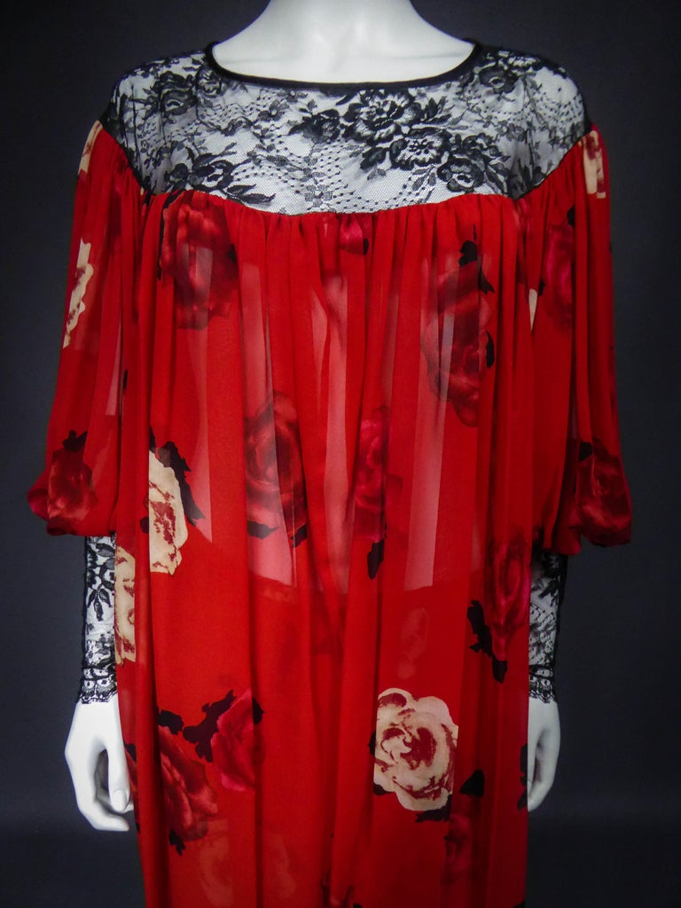 Red Yves Saint Laurent Haute Couture set (attributed to) Circa 1989 For Sale