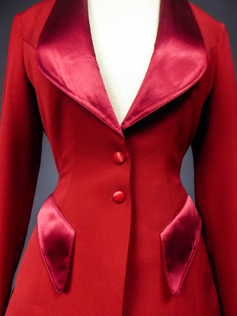 Red Thierry Mugler Couture Skirt Set Circa 1990 For Sale