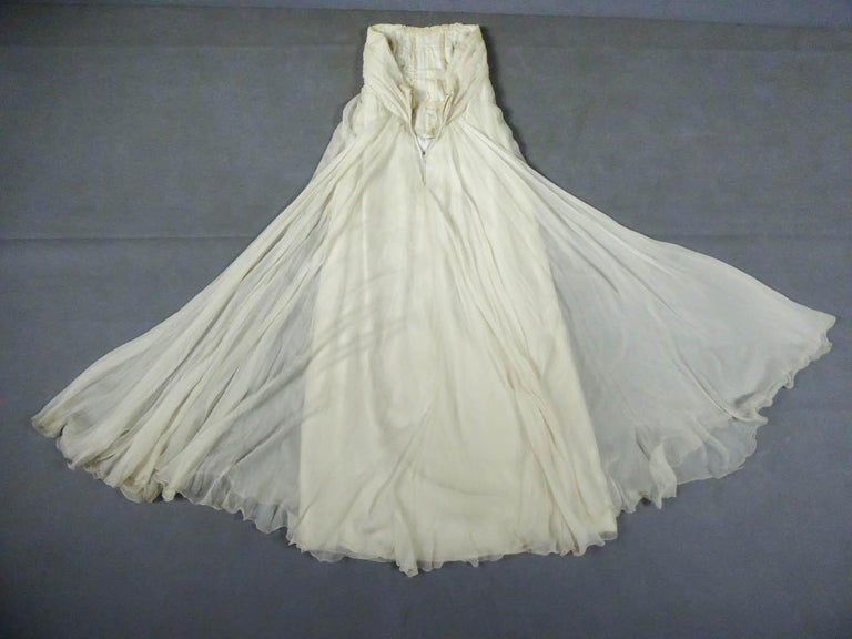 Beige Anonymous French Couture Evening Dress Circa 1970 For Sale