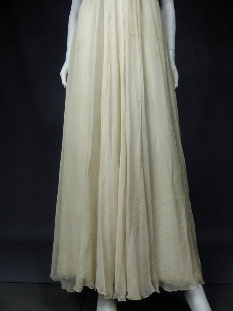 Women's Anonymous French Couture Evening Dress Circa 1970 For Sale