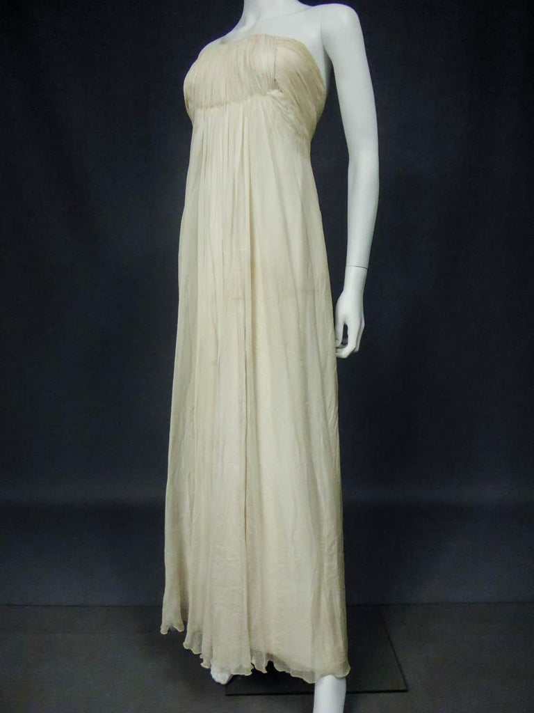 Anonymous French Couture Evening Dress Circa 1970 For Sale 1