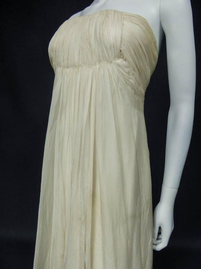 Anonymous French Couture Evening Dress Circa 1970 For Sale 2