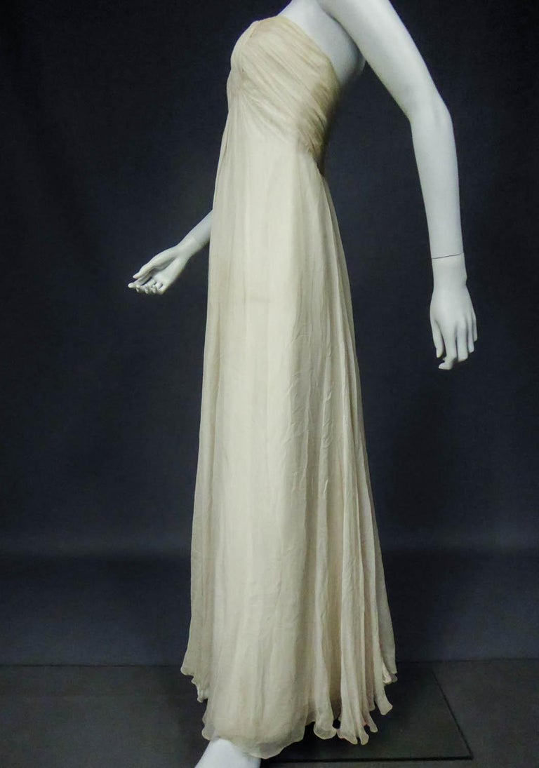 Anonymous French Couture Evening Dress Circa 1970 For Sale 4